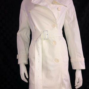 Burberry Brit Women's White Cotton Twill Trench Co